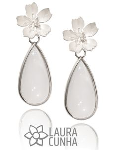 Silver earings, Sakura flower with milky quartz. Hand made by Laura Cunha