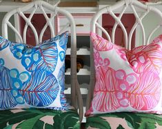 The Carmen Collection, Chinoiserie pillows, birds, pagodas Blue And White Pillows, Outdoor Cover, Outdoor Material, Chinoiserie Chic, Bird Perch, Pink And Green, Oriental, Art Pieces, Birds