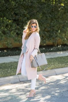 Brighton pairing blush duster with white skinnies and grey sweater outfit