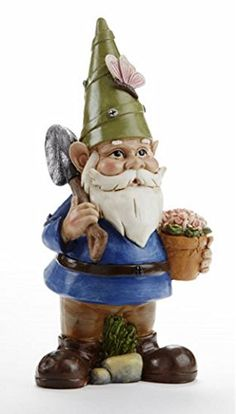 Butterfly and Flower Pot Garden Gnome 9 inch Resin Stone Garden Statue Figurine <3 This is an Amazon Associate's Pin. Find out more on Amazon website by clicking the image.
