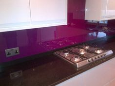 This beautiful Purple really contrasts well with the white! Beautifull Glass Splashbacks, contact us at optimasplashbacks@hotmail.co.uk for your quote now!, and folow us on twitter - https://twitter.com/Opt_Splashbacks
