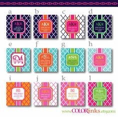 preppy square quatrefoil address labels (set of 40 stickers). $14.00, via Etsy.