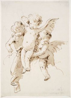 Giovanni Battista Tiepolo (1696–1770), Three Cloud-Borne Cherubs, about 1755; Pen and brown ink with brush and brown wash over black chalk, 20.6 x 14.8 cm
