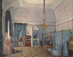 Watercolour, drawings | Interiors of the Winter Palace. The Fifth Reserved Apartment. The Bedroom of Grand Princess Maria Alexandrovna - Edward Petrovich Hau