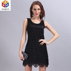 Click to order 2016 elastic slee... If you like please click the like button button http://isaledresses.com/products/2016-elastic-sleeveless-tank-dress-handmade-three-dimensional-beading-slim-tank-hollow-out-mini-party-dress-938?utm_campaign=social_autopilot&utm_source=pin&utm_medium=pin  Global Shipping!