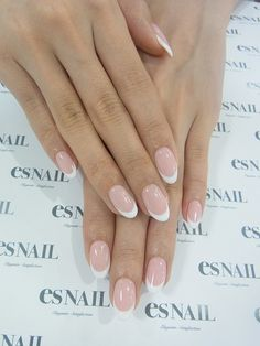 50 French Nails Ideas For Every Bride - French manicure has always been and still is the most popular among brides because it's timeless, - Gel French Manicure, French Tip Nails, Manicure And Pedicure, French Toes, Almond Nails French, Manicure Ideas, White French Nails, Gel Manicures, Shellac Nails