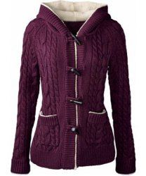 Chic Solid Color Long Sleeve Hooded Cardigan For Women - PURPLE S