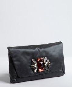 Ashlees Loves: love LANVIN info @ashleesloves.com #Lanvin #darkGrey #silk #MaiTai #embellished #clutch #purse #women's #designer #fashion #style #love
