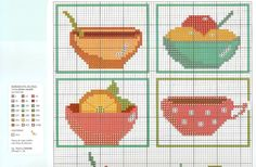 Kitchen theme - This chart is a multi functional craft pattern. Uses include : cross stitch, crochet, knitting motifs, knotting, loom beading, Perler beading, weaving and tapestry design, pixel art, micro macrame, friendship bracelets, and anything involving the use of a charted pattern.