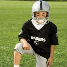 NFL® Deluxe Uniform Set - Oakland Raiders - Your little football fan can look like a real gridiron warrior wearing this official NFL® uniform set! Included is an official home team jersey, team helmet with authentic logo and team colors and team pants that will have them looking ready to take the field. The set also includes iron-on numbers (0-9) for the back of the jersey. Makes a great Halloween costume! - See more at: http://franklinsports.com/shop/nfl-deluxe-uniform-set