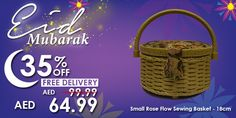 Small Rose Flow Sewing Basket #Eid #mubarak #offer #deals #discount #sale #promo #sewing #stitching #craft #small #rose #basket
