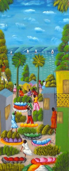 Haitian Painting - Haitian Art - Original Painting - Canvas Art of Haiti - Caribbean Art, Canvas Painting - Original Art - 1 2 x 30- 291 by TropicAccents on Etsy