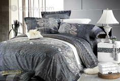 Unique Grey 4 Piece European Pattern Cotton Bedding Sets with Printing