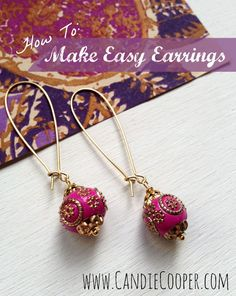 How To Make Easy Earrings using wrapped loop technique.