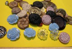 SALE Vintage 40 UNUSUAL Button Collection glass by BusyGirlVintage, $7.99