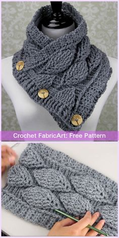Crochet Buttoned Autumn Leaf Cowl Free Pattern Video Tutorial