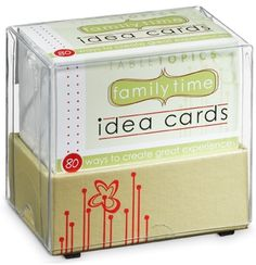 Family Time Idea Cards by Table Topics Table Topics, Kid Picks, Funny Names, Family Day, Family Traditions, Raising Kids, Quality Time, Creative Gifts, Kids And Parenting