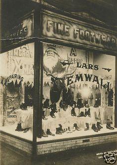 Vintage Christmas Photo ~ Lars Hemwall Fine Footwear Christmas Store Front
