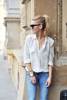 3253c5e0fde casual chic   classic denim + white button up