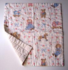 Handmade Baby Lap Quilt Doll Blanket 22x24 Multi Color Prints #Handmade