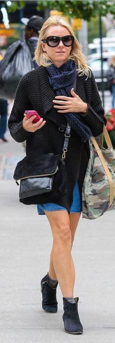 Naomi Watt: Purse – Gerard Darel  Camo bag – Joe's  Shoes – Isabel Marant