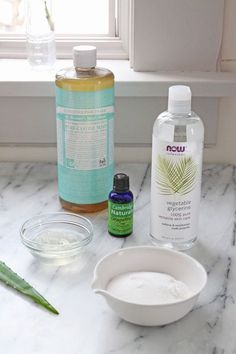 Homemade Dish Soap (1.25c boiled water, .67c unscented castile soap, 1T aloe gel, 1.5t washing soda, 1t vegetable glycerin, 20 drops essential oil )   Remodelista
