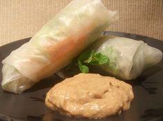 vietnamese summer rolls with SCD-friendly peanut sauce.