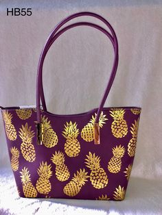 Easy To Grow Houseplants Clean the Air Purple Tote With Gold Foil Pineapples Zipper Closure Dimensions: 17 W X H X D Handle Drop: Item #