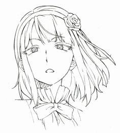 Anime Drawings Sketches, Pencil Art Drawings, Anime Sketch, Anime Poses Reference, Art Reference, Manga Art, Anime Art, Neko Girl, Anime Face Drawing