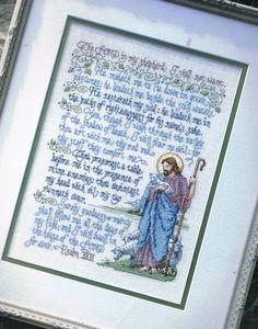 CROSS STITCH PATTERN - Psalm 23 Prayer Counted Cross Stitch Chart - Lord is my SHepherd - Christian Cross Stitch - Scripture Cross Stitch