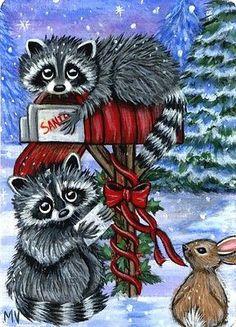 Original Raccoon Christmas Winter Letters to Santa Bunny Rabbit Mail ACEO Print