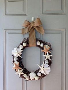 autumn Beach Theme Door Wreaths | on Etsy, $45.00 Fall wreath, Beach House Decor, Beach Themed ...