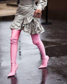 Pink balenciaga Knife Boots during at Paris Fashion Week FW17 by #chrissmart