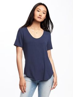 Lost at Sea Navy - Luxe Curved-Hem Tee for Women