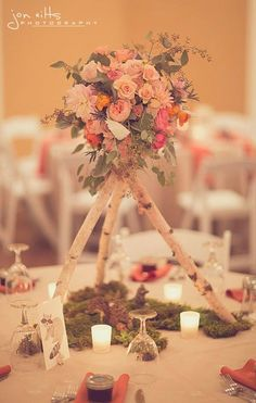 Wooden Tee-pee and Floral Topiary Centerpiece {Birds of a Feather Events}