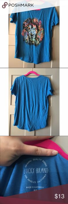 Lion Lucky Brand tshirt Floral lion. Lucky Brand. Like new Lucky Brand Tops Tees - Short Sleeve