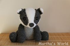 Baby Badger crochet pattern by Kate E Hancock (Inspiration only). ༺✿ƬⱤღ✿༻