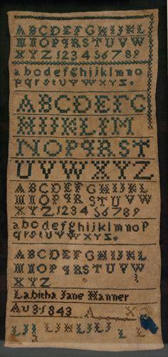 Antique American Sampler School Girl Alphabet Needlework Rare North Carolina Hair Lock Sampler Signed 1843