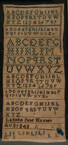 Antique American Sampler School Girl Alphabet Needlework Rare North Carolina Hair Lock Sampler Signed 1843