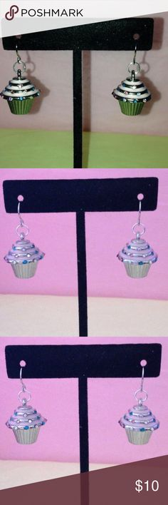 Silver Plated Cupcake Earrings Silver Plated Cupcake Earrings, Cupcakes are silver plated and have pink icing and colorful stones that resemble sprinkles.  These are a really cute gift for teens, family, friends or someone special.  Charms are attacked to silver plated earwires. Jewelry Earrings