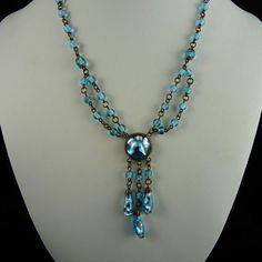 Art Deco Aqua Foil Glass Festoon Necklace