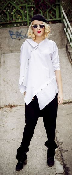 White Top / Plus Size White Cotton Shirt / Asymmetrical Loose Shirt TT33 / CHRISTMAS SPECIAL  Teyxo