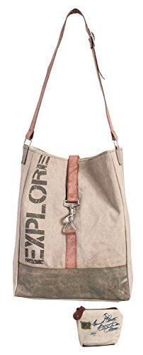 Mona B Explore Upcycled Canvas Tote Bag M-3703 with Coin Purse * You can get additional details at the image link.
