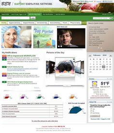 Baptist Employee Network Intranet Portal by Adam Doti, via Behance Intranet Portal, Human Resources, Vignettes, The Help, Behance, Ui Design, Layouts, Ideas, User Interface Design
