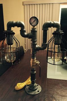 100% custom, hand-made, pipe lamp. Fashioned by a plumber, this artwork is made out of actual pipe fittings, valve and a gauge used in the plumbing industry to transport natural gas in residential, commercial and industrial applications. Lamp is approximately 18 tall by 17 inches at its widest point and comes with an 8 switched cord (on/off switch on cord). This lamp is completely original. I make every one different so youll own a one-of-a-kind conversation starting masterpiece thatll look…