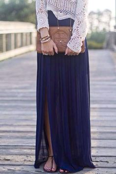 Love this long skirt.