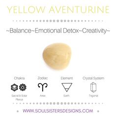 Metaphysical Healing Properties of Yellow Aventurine, including associated Chakra, Zodiac and Element, along with Crystal System/Lattice to assist you in setting up a Crystal Grid. Go to https:/www.soulsistersdesigns.com to learn more!