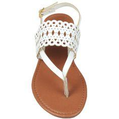 Black Rivet Laser Cut VStrap Sandal ($12) ❤ liked on Polyvore featuring shoes, sandals, black party shoes, laser cut shoes, ankle wrap sandals, black ankle wrap sandals and party shoes