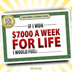 7000 Dollars a Week for Life Sweepstakes PCH Instant Win Sweepstakes, Online Sweepstakes, Gerardo Gonzalez, Lotto Winning Numbers, Lotto Numbers, Win For Life, Winner Announcement, Win Cash Prizes, Lottery Winner