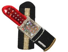 """Amazon.com: [Single Count] Custom and Unique (2 1/4"""" by 2 5/8"""" Inches) Fashion Beauty Makeup Sequin Lipstic Case Iron On Embroidered Applique Patch {Red, Black, and Gold Colors}"""